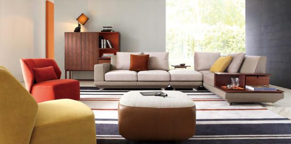 NARCISO CORNER SOFA + SMALL STOOL